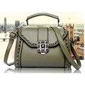women oil wax PU leather fashion bag retro  Rivets bag shell   bag hand diagonal package crossbody bag