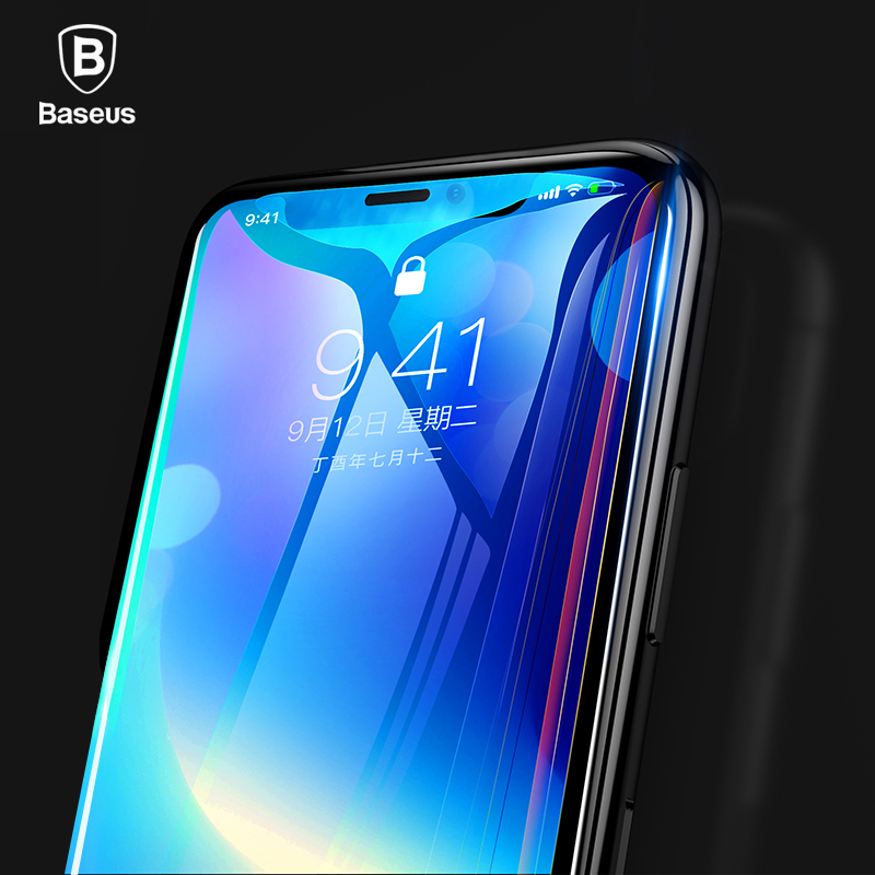 Baseus 0.3MM 7D Full Cover Screen Protector For iPhone X Glass Ultra 9H Tempered Glass For iPhoneX Front Protective Glass Film