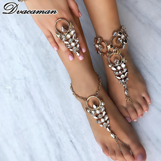 Dvacaman Facebook Hot Anklet Accessories Women Sexy Rhinestone Barefoot  Sandals Crystal Anklet Beach Foot Jewelry 1 Pcs 7668 4c224284d08b
