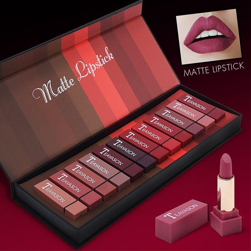 Wasserdicht Matte Lippenstift Gloss Flüssigkeit Feuchtigkeitscreme Glatte Lip Stick Long Lasting Schönheit Make-Up Kosmetische 12 teile/satz