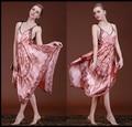 New Brand Spring Autumn Nightgown Women Sexy Spaghetti Strap Lingerie Dress Classic Vintage Silk Sleepwear Sleepshirts