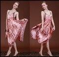 Nova Marca Primavera Outono Mulheres Camisola Sexy Alcinhas Lingerie de Seda Pijamas Sleepshirts Vestido Clássico Do Vintage