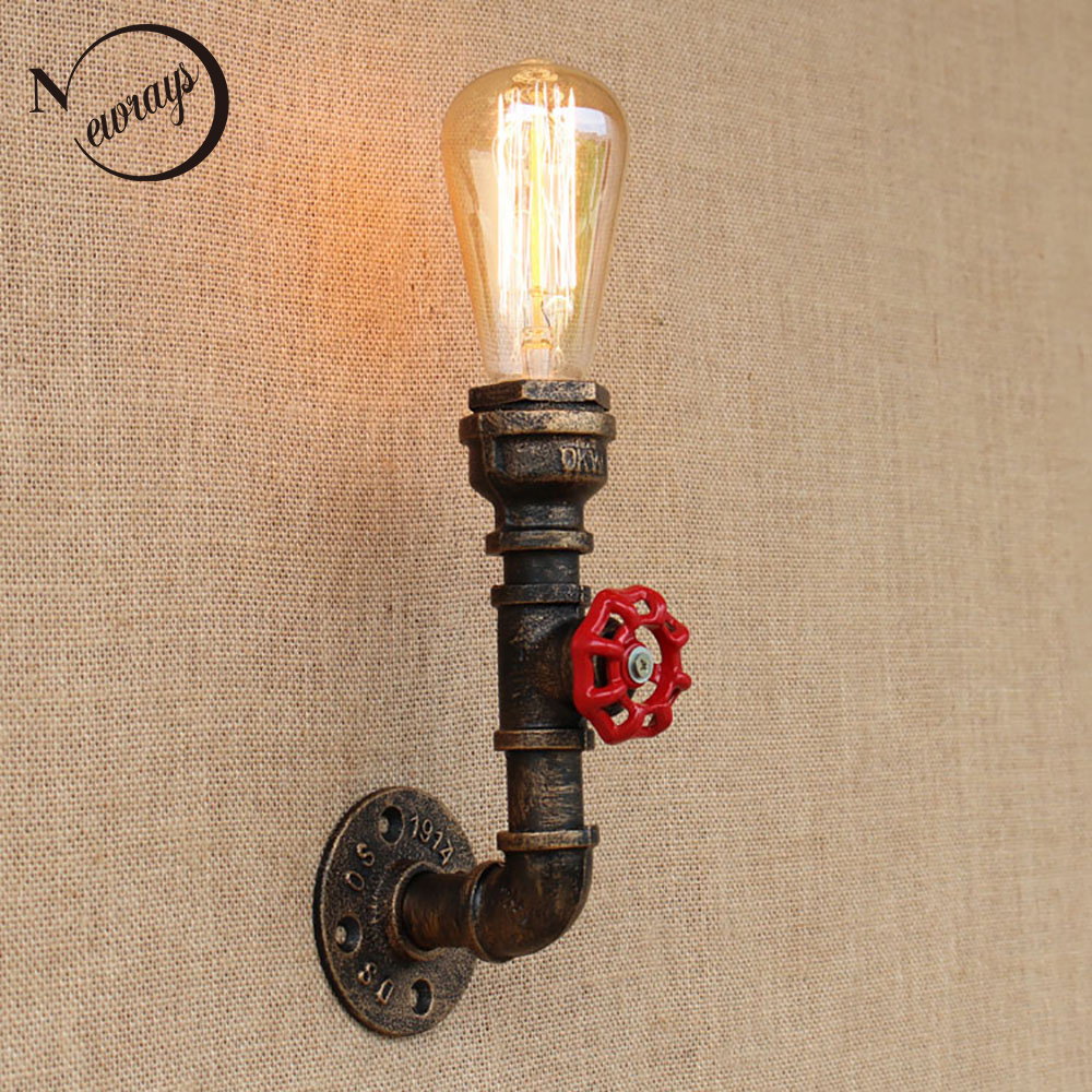 Retro iron Water pipe vintage loft wall lamp bedside with edison/led bulb E27 110v-220v lights for restaurant bedroom cafe loft retro iron water pipe vintage wall lamp with edison led bulb e27 lights ac 110v 220v for cafe hallway bedroom study bar