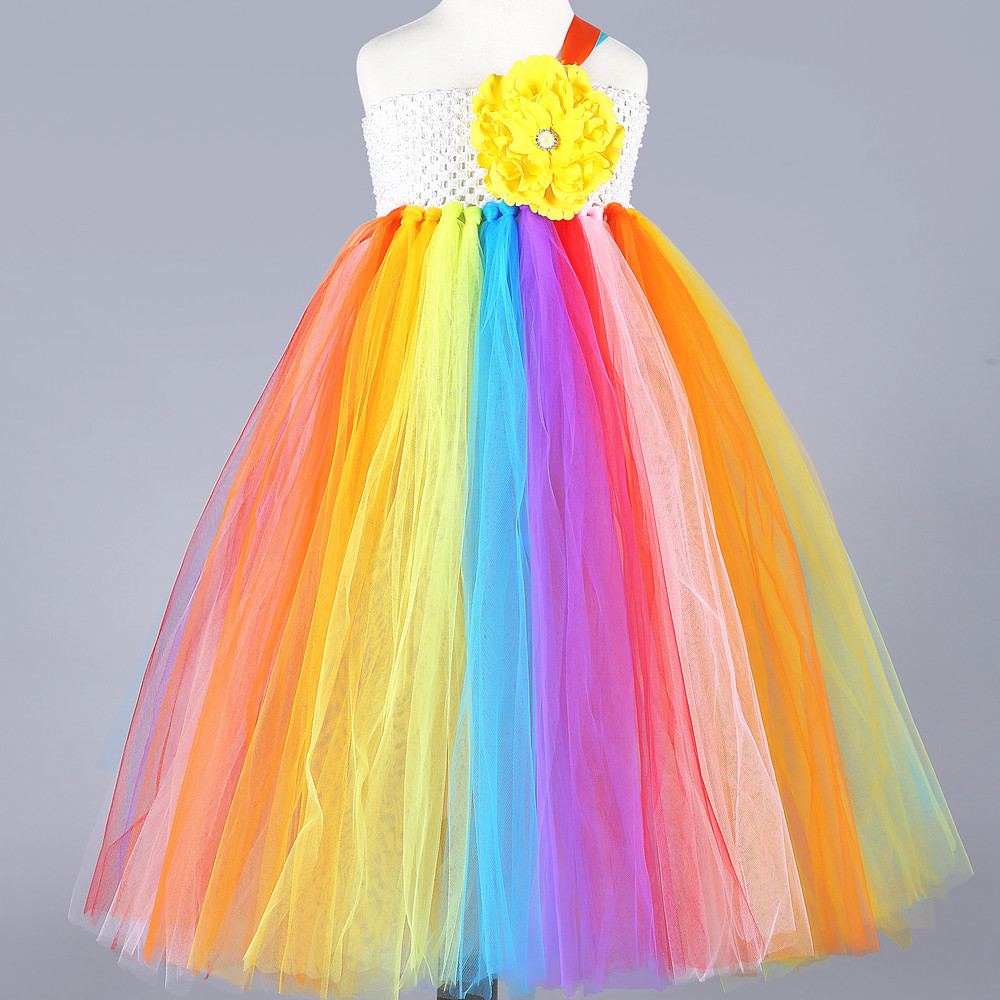 2018 Fluffy Rainbow Girls Dress Tulle Wings Colorful Girl Tutu Inspired Costume Rainbow Birthday Party Kids Dress for Girls rainbow striped dress