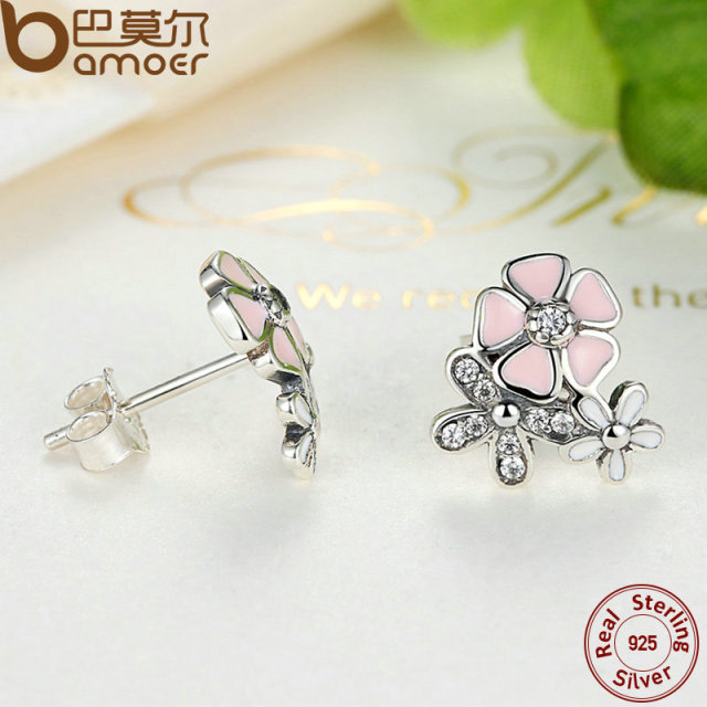 Sterling Silver Poetic Daisy Cherry Blossom Earrings