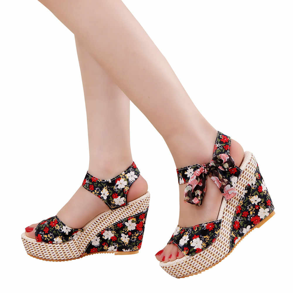 YOUYEDIAN summer shoes woman Flower Peep Toe Wedges Lace up Thick Bottom  Flatform Shoes Sandals zapatos 71181b89f079