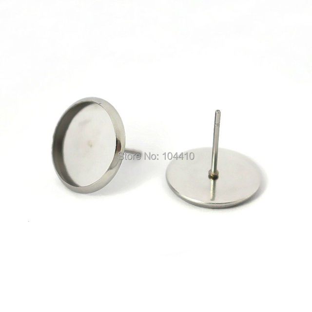 Blank Stainless Steel Stud Earrings Bases Round Bezel Pins Back Glass Cameo Cabochons  Earrings post DIY 7031a152ab76