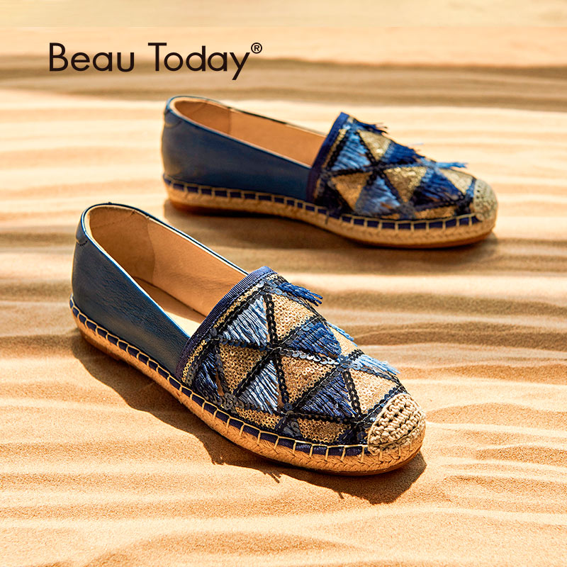 BeauToday Sequins Tassel Loafers Women Genuine Leather Sheepskin Mesh Mixed Colors Round Toe Lady Flats Handmade