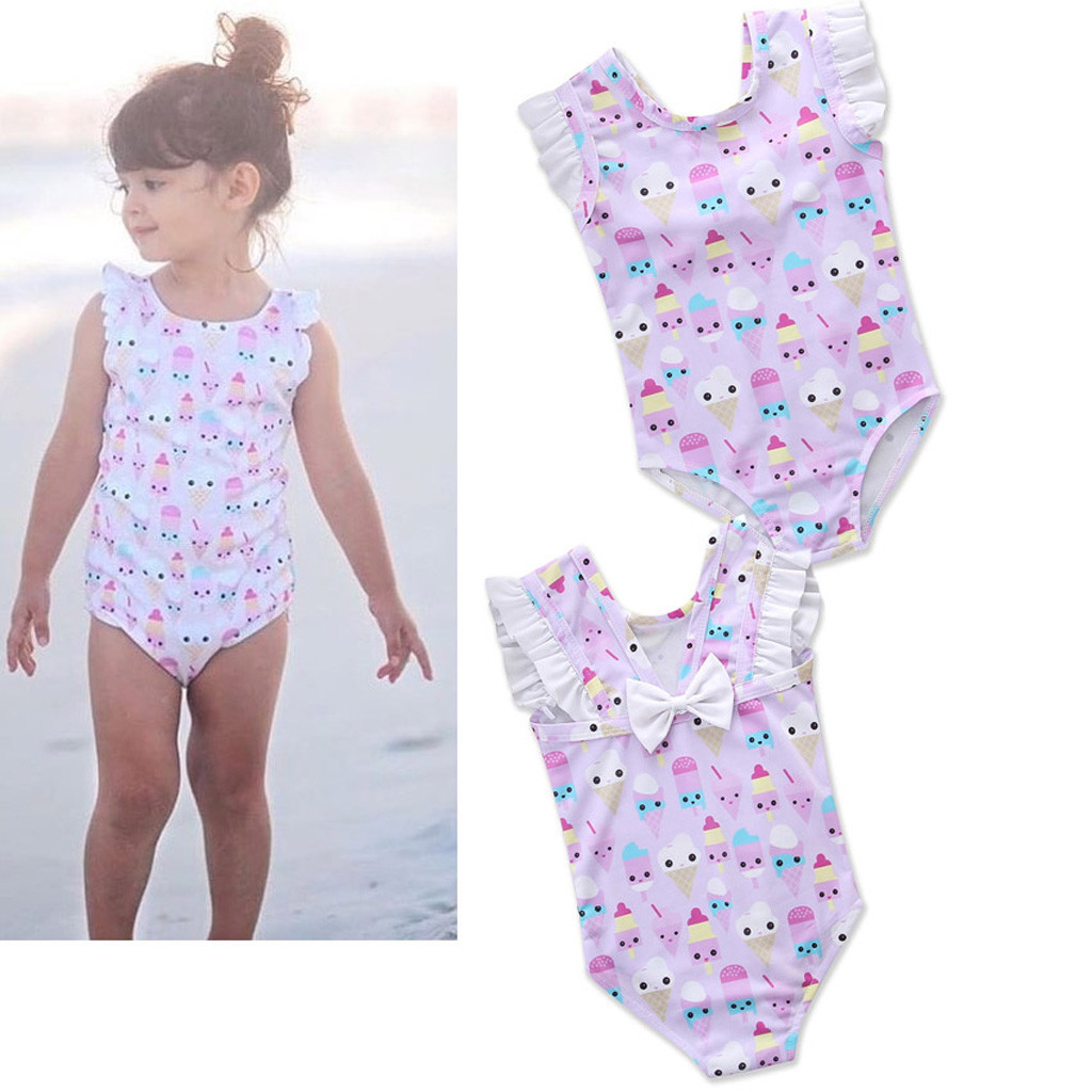Swimwear Summer Sling One-piece Quick-drying Baby Girls Swimwear Cute Ice Cream Dot Swim Beach Bathing Kids Toddler Children Swimsuit