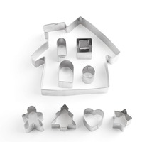 10pcs House/Girl Cookie Cutter Mold Fondant Cake Decorating Tools 3D Sugarcraft Wedding Pastry Biscuit Baking Mold