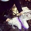 Sapatos para As Mulheres de cristal Bling Do 2016 Mais Novo Estilo Colorido Led Emitindo Luminosa Neon Cesta de Carregamento Usb Levou G37 35