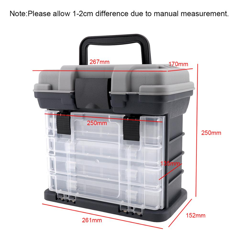 4 Layer PP ABS Sea Fishing Tackle Box with Plastic Handle Storage Fishing Lures Tools Accessories for Outdoor Fishing in Fishing Tackle Boxes from Sports Entertainment
