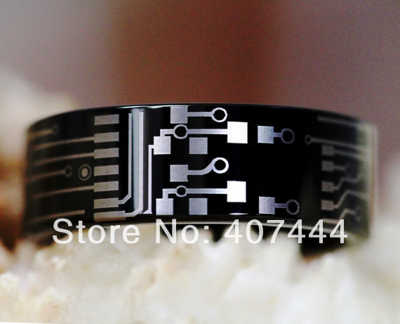 Free Shipping YGK JEWELRY Hot Sales 8MM CIRCUIT BOARD His Her Shiny Black Men s Tungsten