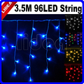 3.5M 96 LED 9 Colors Wedding New Year Christmas Garland Cord Lamp Fairy String Icicle Outdoor Decoration Curtain Light CN C-15