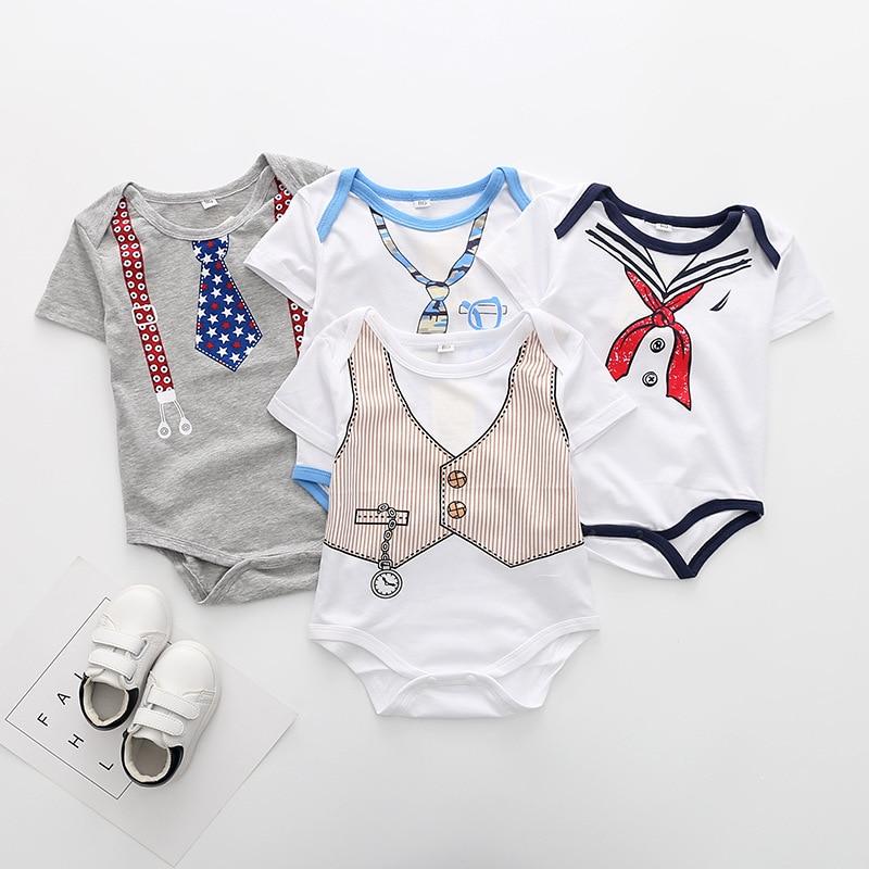 2018 Summer baby boys printed bodysuit fashion gentlmen climbing clothes girls infant cotton jumpers navy style bodysuit 18M06