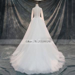 Image 4 - Liyuke Vintage yumuşak tül yüksek yaka tam kollu A Line düğün elbisesi mahkemesi tren boncuk kristaller inciler gelinlik
