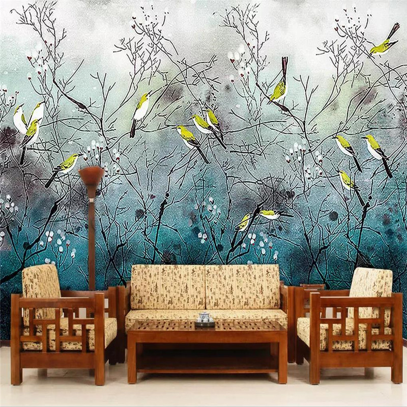 Custom 3d mural Chinese style flowers and birds nostalgic background wall decoration painting wallpaper mural photo wallpaper in Wallpapers from Home Improvement