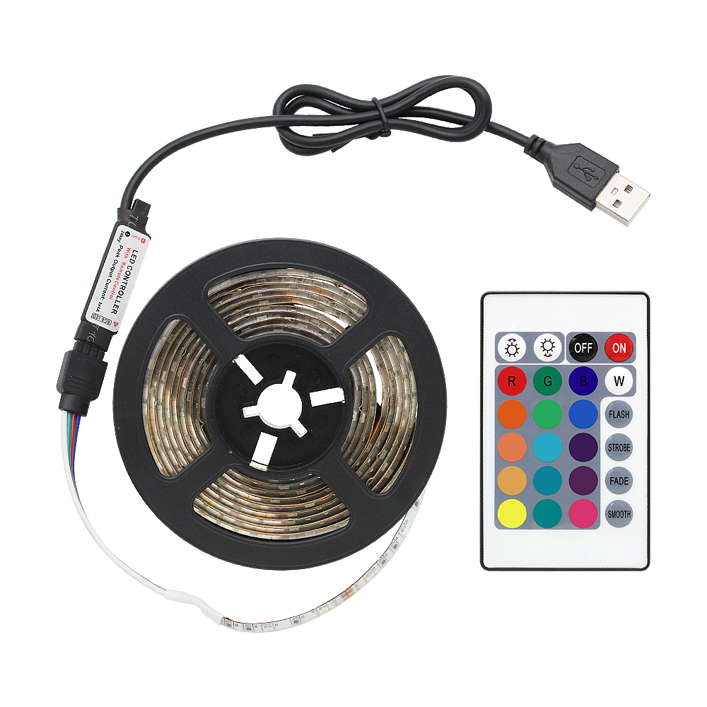USB 1M 2M 3M 4M 5M RGB LED Strip Light With 24keys Remote Control Waterproof IP65 Flexible Tape Lamp For TV Background Lighting