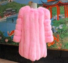 80CM Length 2017 New Winter Warm Ladies Fox Fur Coats Fashion Fur Jacket Coat Women Real Fox Fur Coats O-neck Outerwear NE041