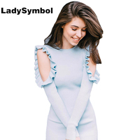LadySymbol Ruffle Off Shoulder Knitted Blue Sexy Bodycon Sweater Dress Women Autumn Casual Dress Elegant Mini