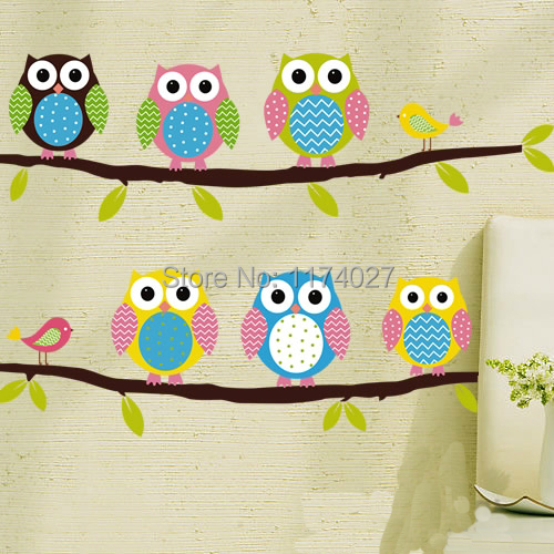 Free Shipping 2015 High Quality cute Owl Wall Sticker Home Decor Removable Vinyl Decal Kid Room Art decals