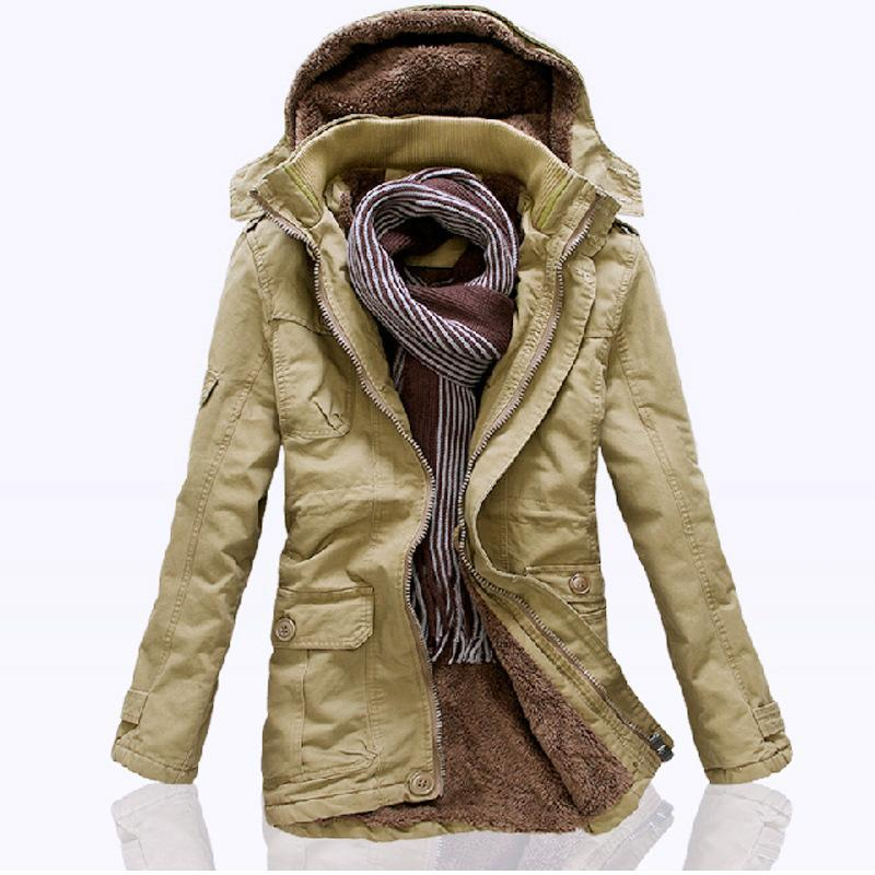 ФОТО New Mens High Quality 100%  Cotton Thickhen Winter Snow Warm Coat,Hooded Faux Fur Parkas,Black,Khaki,Size M-5XL,AW1308,Free Ship