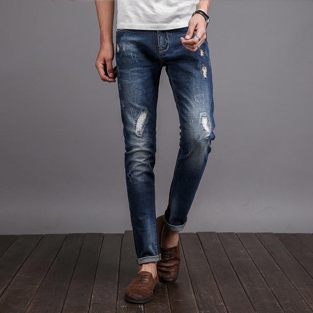 c3afb6b787588 Los hombres Pantalones Vaqueros Rasgados Flacos Stretch Slim Fit Pantalones  Denim Hombre Jeans Hombre Skinny Jeans