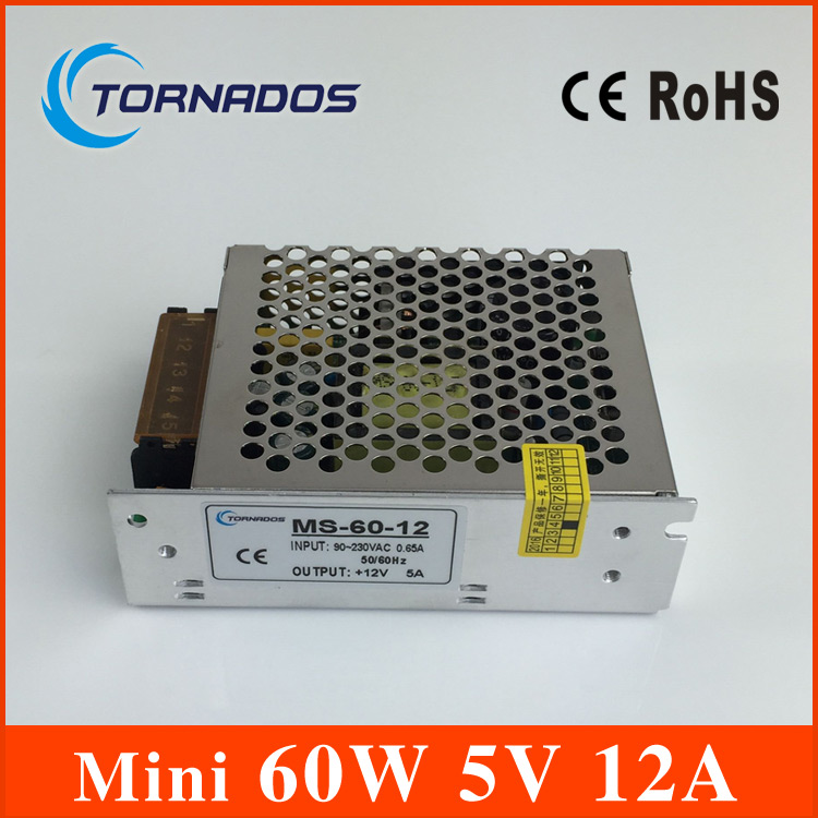 60W 5V 12A Switching Power Supply Mini size LED Switching Power Supply Transformer AC 170-264V to DC 5V (MS-60-5) meanwell 12v 350w ul certificated nes series switching power supply 85 264v ac to 12v dc