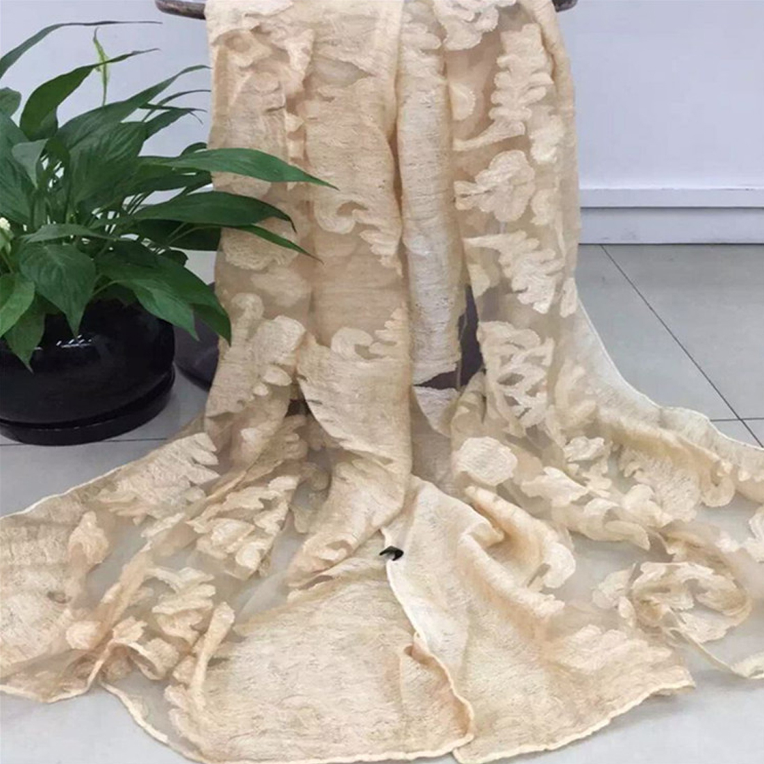 Lace Wrap Long Blanket Poncho Organza Xiangyun Embroidered Scarf New Spring Silk Embroidery Floral Scarves Women Winter Shawls in Women 39 s Scarves from Apparel Accessories
