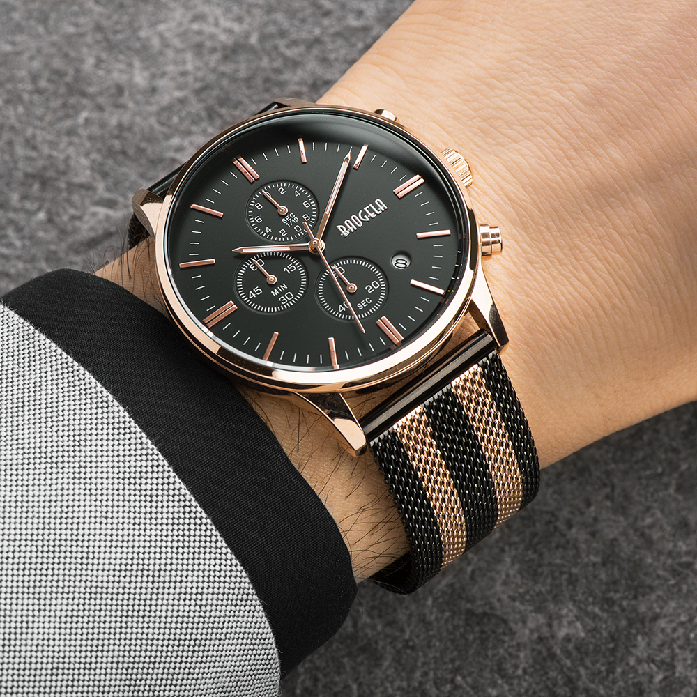 BAOGELA Chronograph Men's Quartz-Watch Stainless Steel Mesh Band Gold Watches Slim Men Watches Multi-Function Sports Wristwatch fashion men s casual quartz watch stainless steel mesh band gold watch slim men watches multi function sports watches relogio