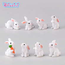 Easter Love White Rabbit Figures Funny Animal Model Miniature Figurines Fairy home Garden Wedding Doll Decoration Girl toy gift