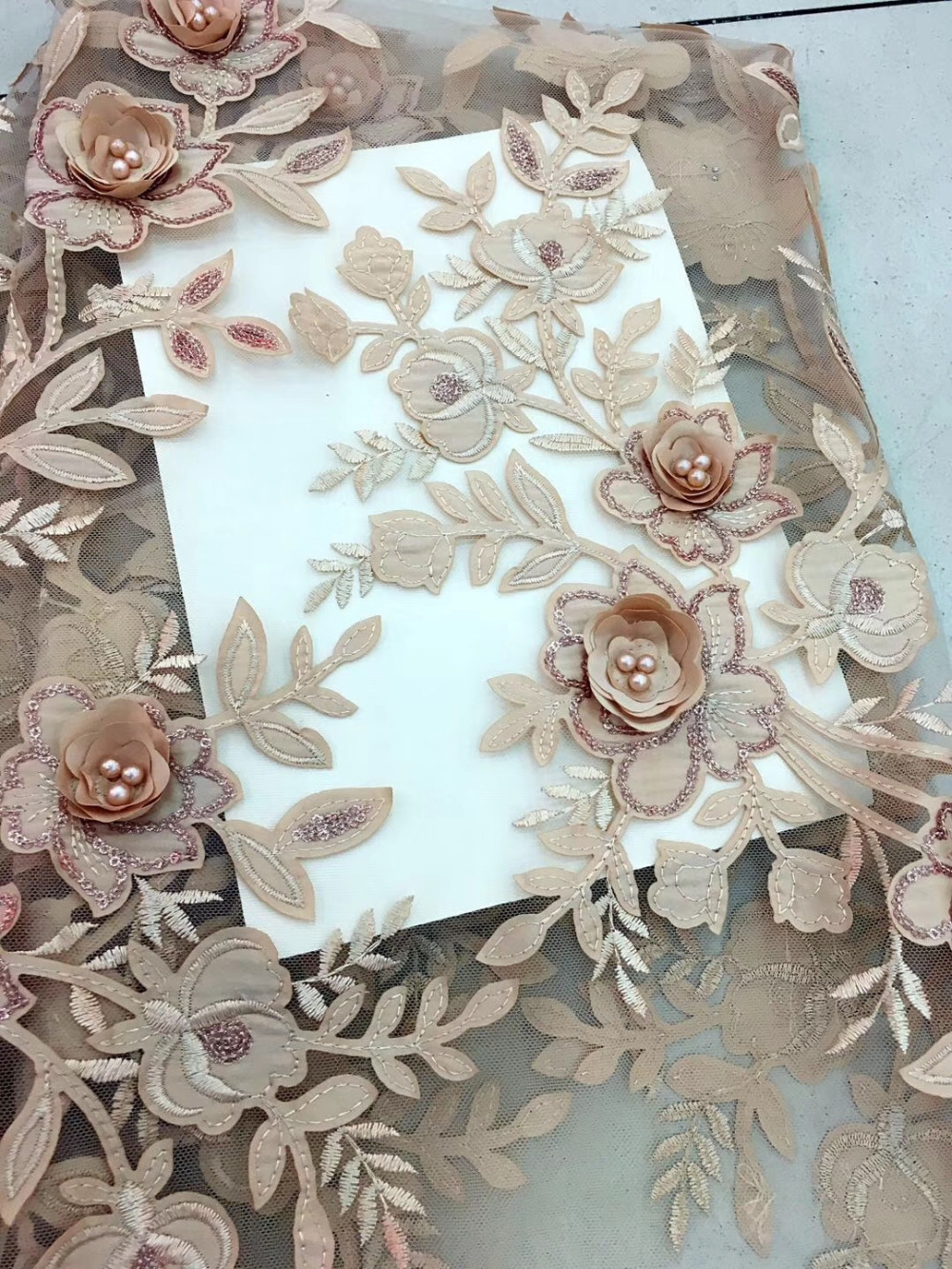 High Quality Lace Fabric Apliques Bridal Lace,Latest Bead Sequins French Lace Fabric In 7 Color,3D Flower Lace Wedding Dresses