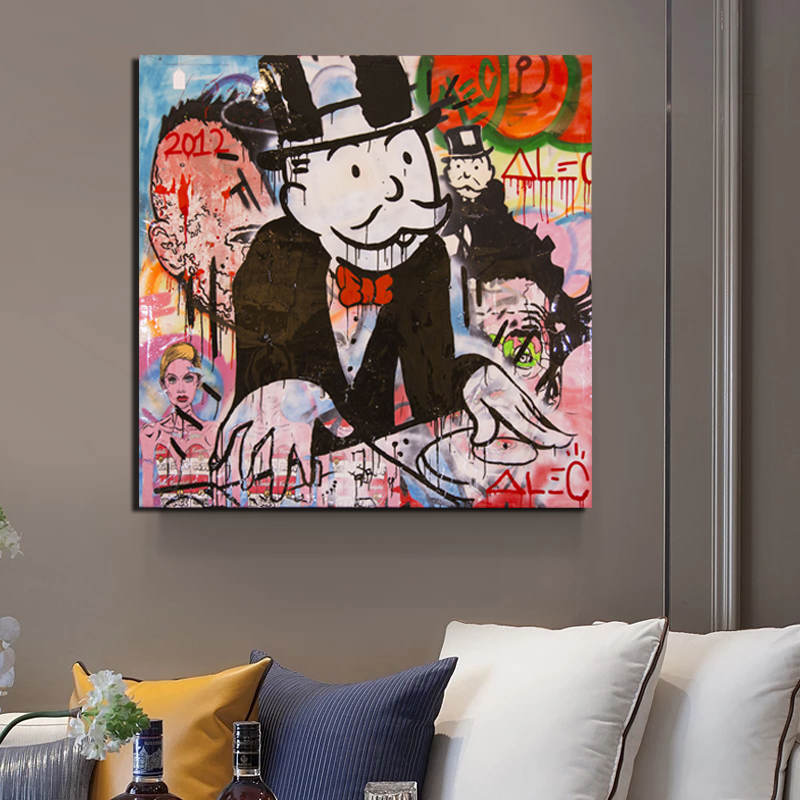 Monopoly By Alec Monopoly Canvas Painting Living Room Home Decoration Modern Wall Art Oil Painting Posters Pictures HD in Painting Calligraphy from Home Garden