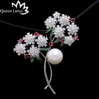Queen Lotus New Luxury Flower Pearl Crystal Brooches for Women Silver Color Fashion Jewelry Brooch and Pins