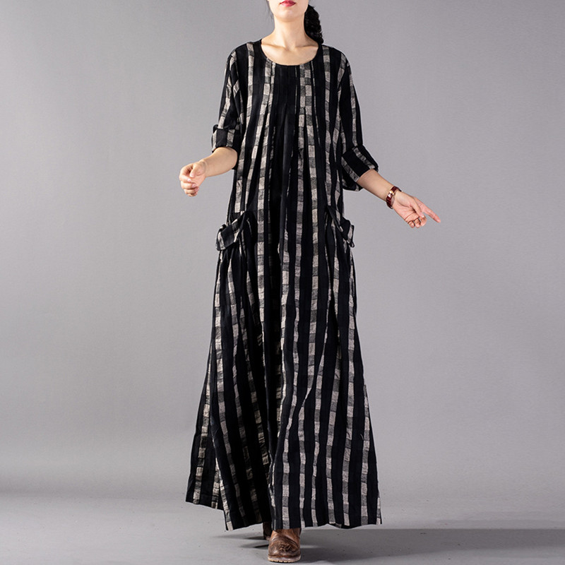 Johnature Vintage Plaid O Neck Full Sleeve 2019 Autumn New Cotton Linen Long Dresses Loose Casual