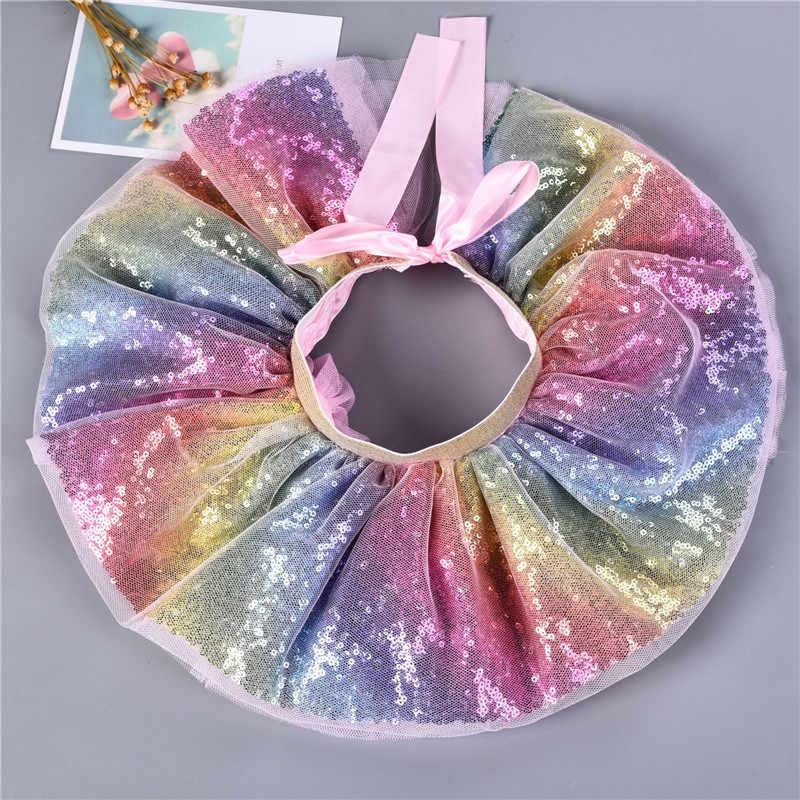 Verano 0-8Y niños niñas tutú falda niños conjunto Arco Iris lentejuelas diadema tul falda princesa disfraz bebé niña ropa A349