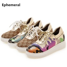 Ephemeral Lady's Printed Leather Laceshoes Patchwork Big size Booty 34-43 Platform Med Flat Heel Ankle Botas Women Shoes Gold