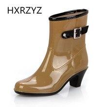 Printemps Été Femmes de Pluie Bottes Dame Étanche Anti-dérapage Chaussures À Talons Hauts Femmes Casual Bottes Simples Mode Noir pluie Bottes