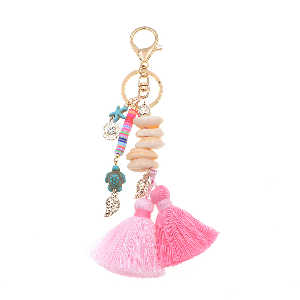 WELLMORE BOHO style keychain shandmade shell with long tassel alloy Key Chain For Women Girl Bag Keychain