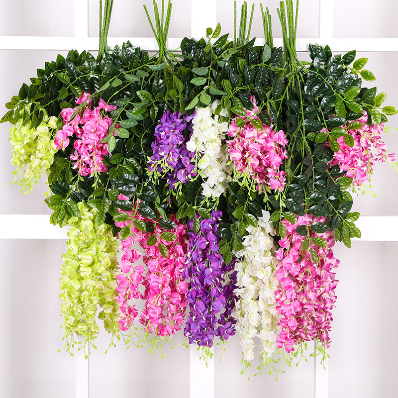 110cm fake wisteria silk vines with green leaves hanging plant leaf rattan hangplant DIY flower party garden decoration H0025