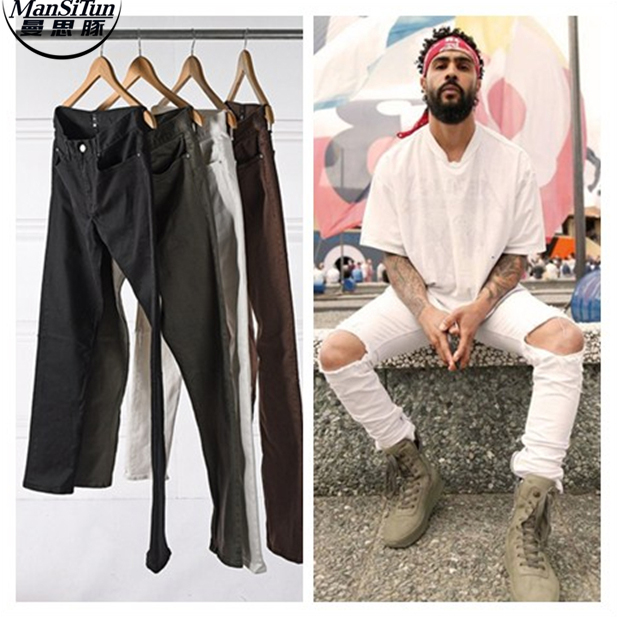 Man Si Tun New Designer Clothes Factory Connection Clothing Fog Justin Bieber Skinny Ankle White Brown