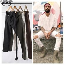 Mann Si Tun Neue Designer Kleidung Fabrik Anschluss Kleidung Nebel Justin Bieber Dünne Knöchel Weiß/Braun/Grün/schwarz Reißverschluss Jeans