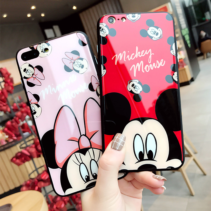Cartoon Mickey Minnie Tempered Glass Phone Cases For Iphone X 6 6S Plus 7 8 Plus Back Phone Cover Hard Case Anti-Scratch High