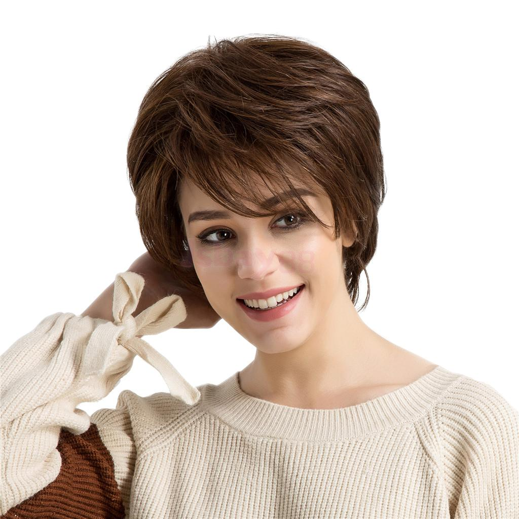 Fashion Women Natural Real Human Hair Wig Partial Short Straight Wigs Brown настольная игра властелин башни selfie media