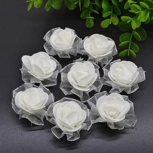 Image 4 - 20pcs 4cm שוליים נצנצים משי קצף פרחי DIY בעבודת יד מלאכותי עלה פרח ראשים לחתונה טוטו קישוט ראש פרחים