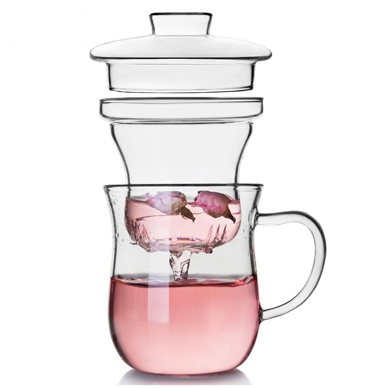 Žáruvzdorná dvojitá sklenice čajového šálku Bylinkový květinový čajový hrnek Tepelná izolace filtru Pohár kancelářského šálku