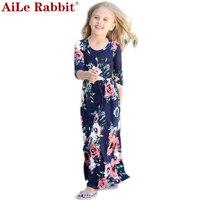 2017 New Long Dress Fashion Trend Bohemian Dress For Girls Beach Tunic Floral Autumn Maxi Dresses