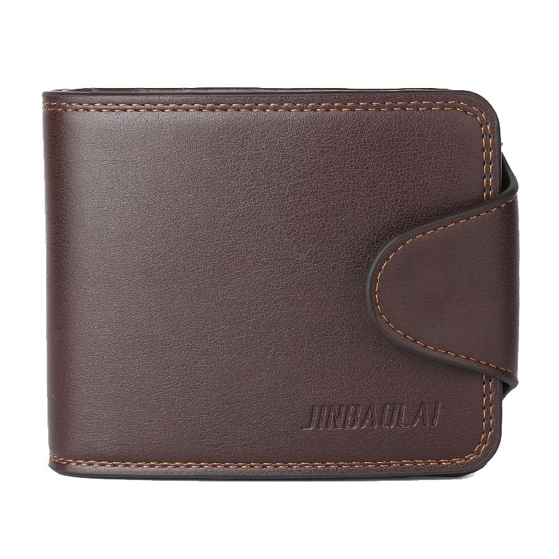 JINBAOLAI 1 coffee leather mens crossed buckle wallet coin purse contains 1 big space +7 card + 1 photo bit +1 coin bag