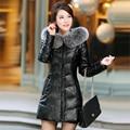 Camurça de couro grossas para baixo mulheres casaco de inverno PU jaqueta de couro real da pele de fox com capuz frete grátis New Phoenix 1018C
