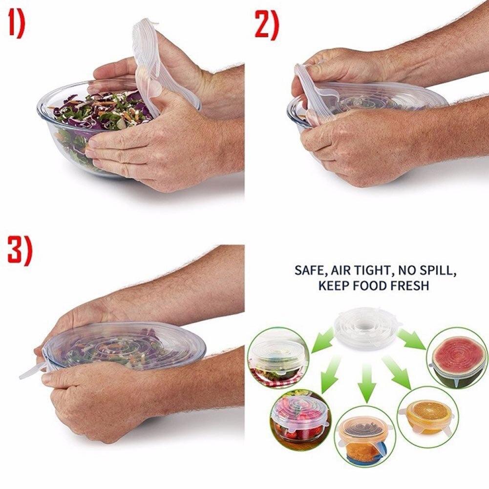6 Pcs/ensemble!!! cuisine Alimentaire Couvre Wraps Micro-ondes Au Four Couvercles Bâche À Vide Réutilisable Silicone Couvercles Stretch Pour Peut bouteilles
